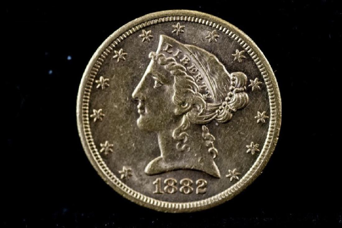 Antique United States 1882 S $5 Gold Coin