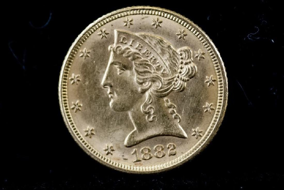 Antique United States 1882 $5 Gold Coin