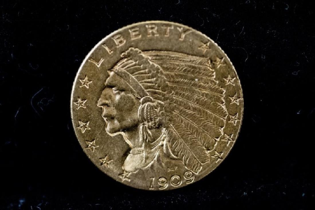 Antique United States 1909 $2.5 Gold Coin