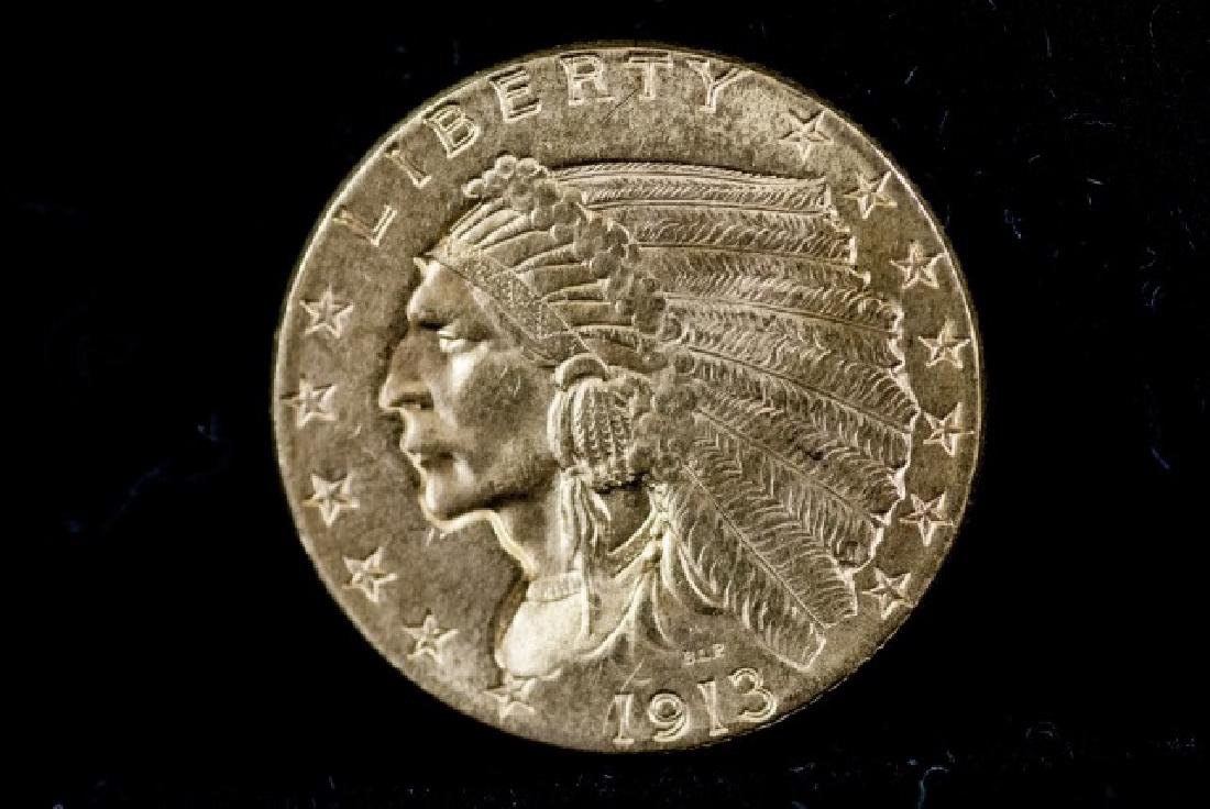 Antique United States 1913 $2.5 Gold Coin