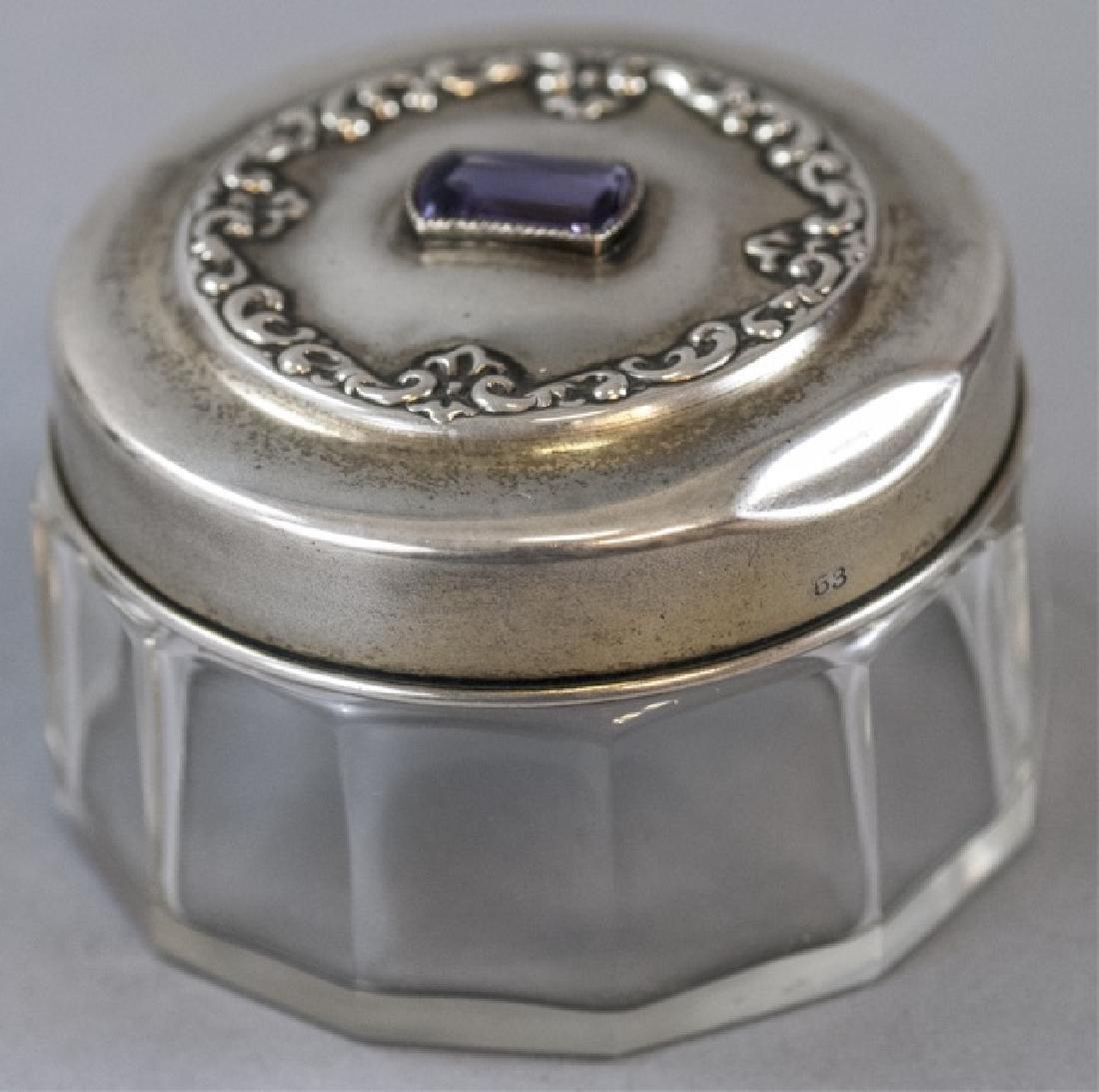 Antique 19th C Sterling & Amethyst Dresser Jar