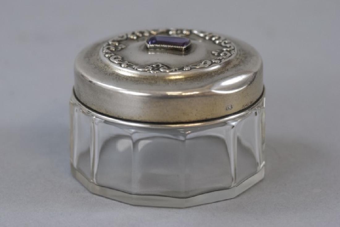 Antique 19th C Sterling & Amethyst Dresser Jar - 2