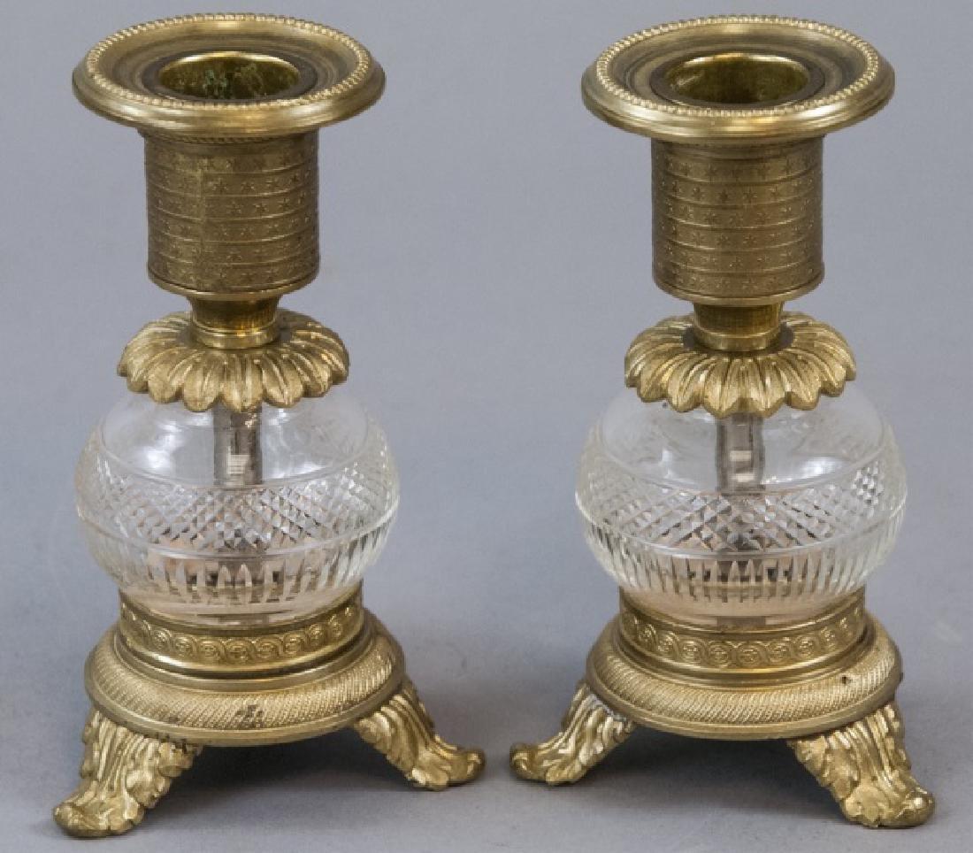 Pair Antique Ormolu & Cut Crystal Candlesticks