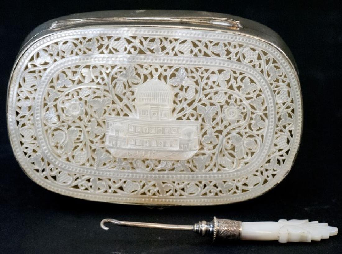 Antique Silver & Hand Carved Mother of Pearl Case