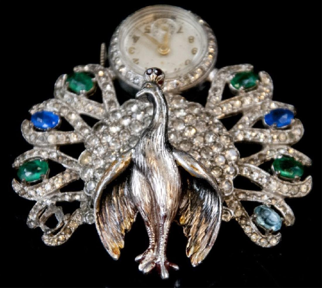 Antique Art Deco Peacock Ladies Watch Brooch