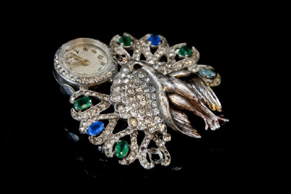 Antique Art Deco Peacock Ladies Watch Brooch - 2