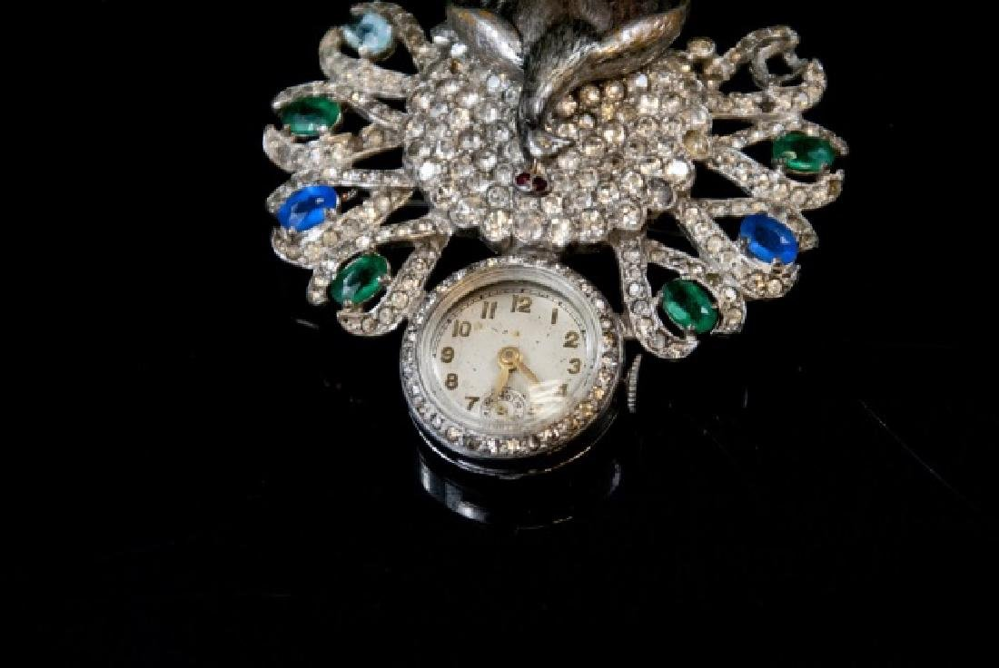Antique Art Deco Peacock Ladies Watch Brooch - 3
