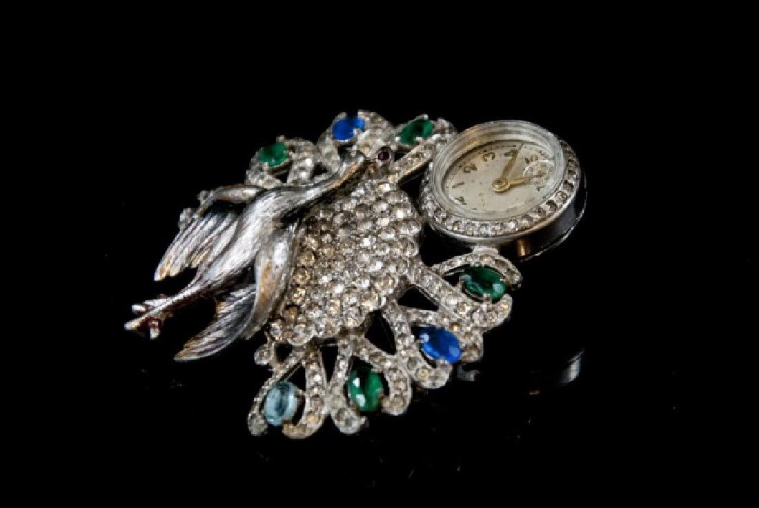 Antique Art Deco Peacock Ladies Watch Brooch - 5