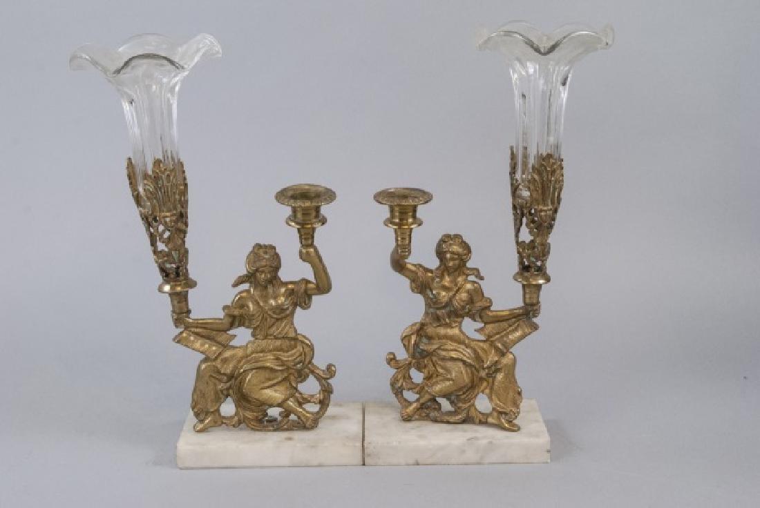 Pair Antique 19th C Victorian Ormolu & Marble Vase