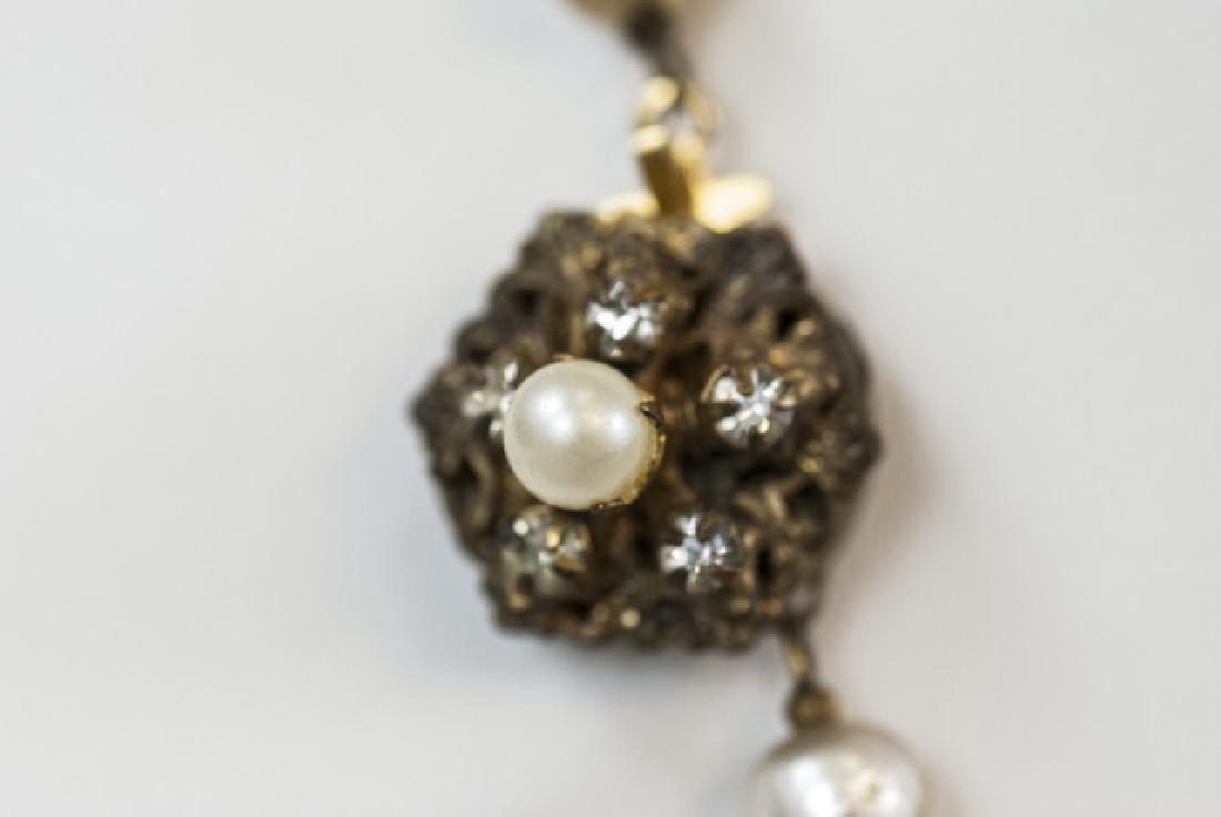 Vintage Miriam Haskell Pearl & Rhinestone Necklace - 4