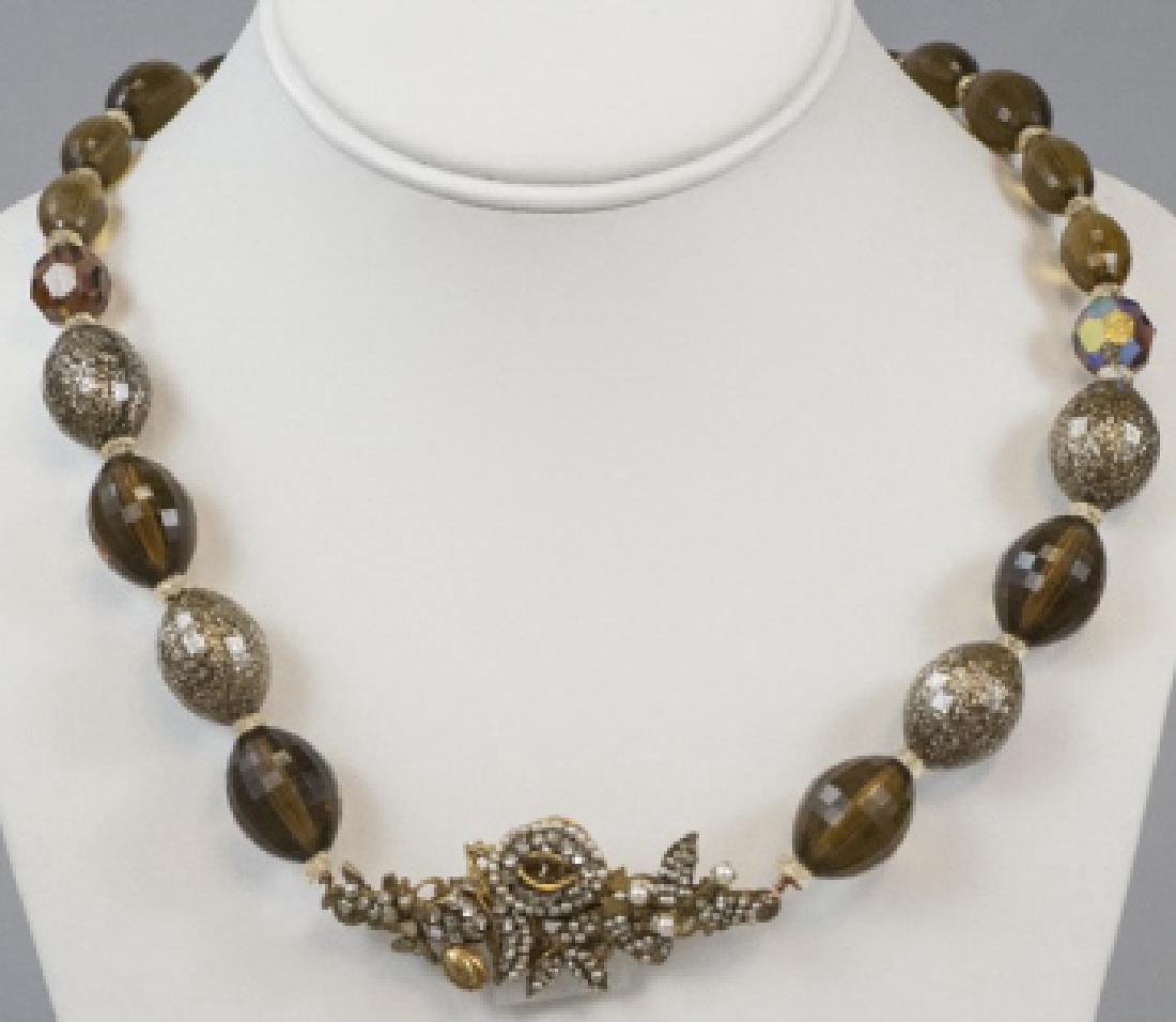 Vintage Miriam Haskell Pearl & Rhinestone Necklace