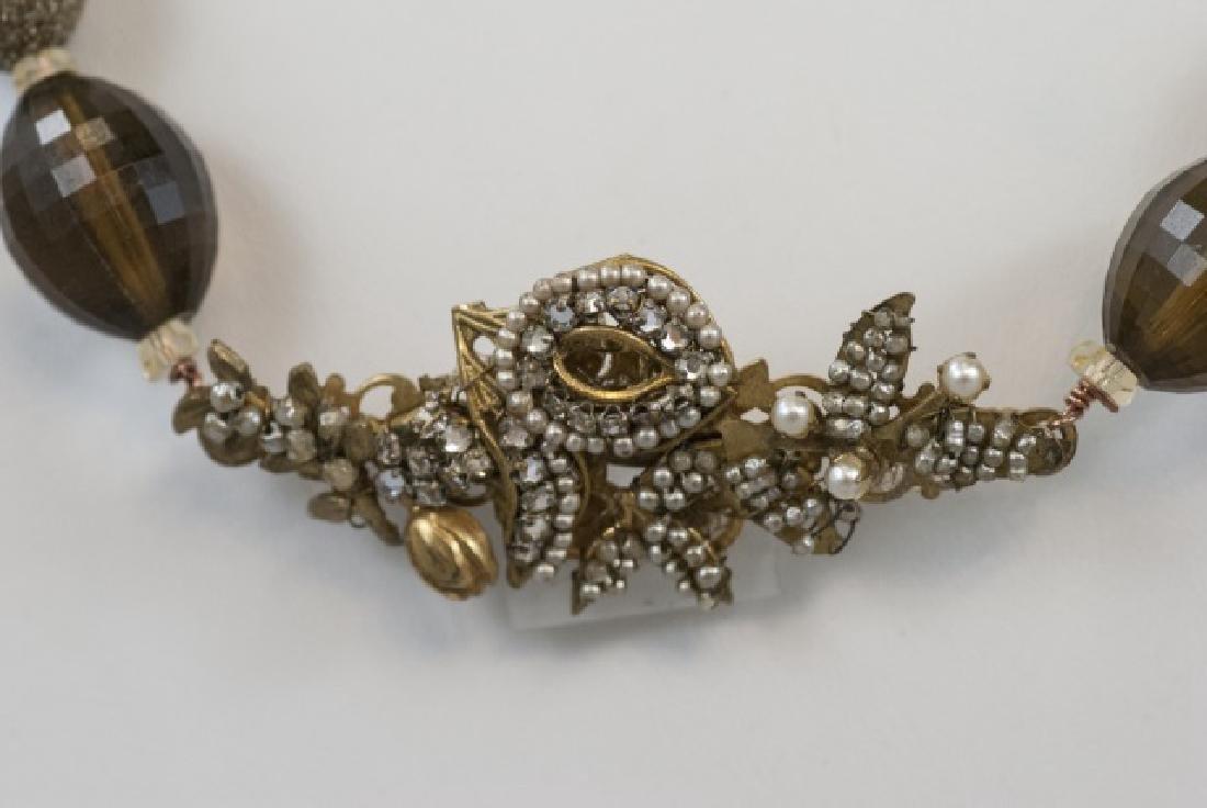 Vintage Miriam Haskell Pearl & Rhinestone Necklace - 2