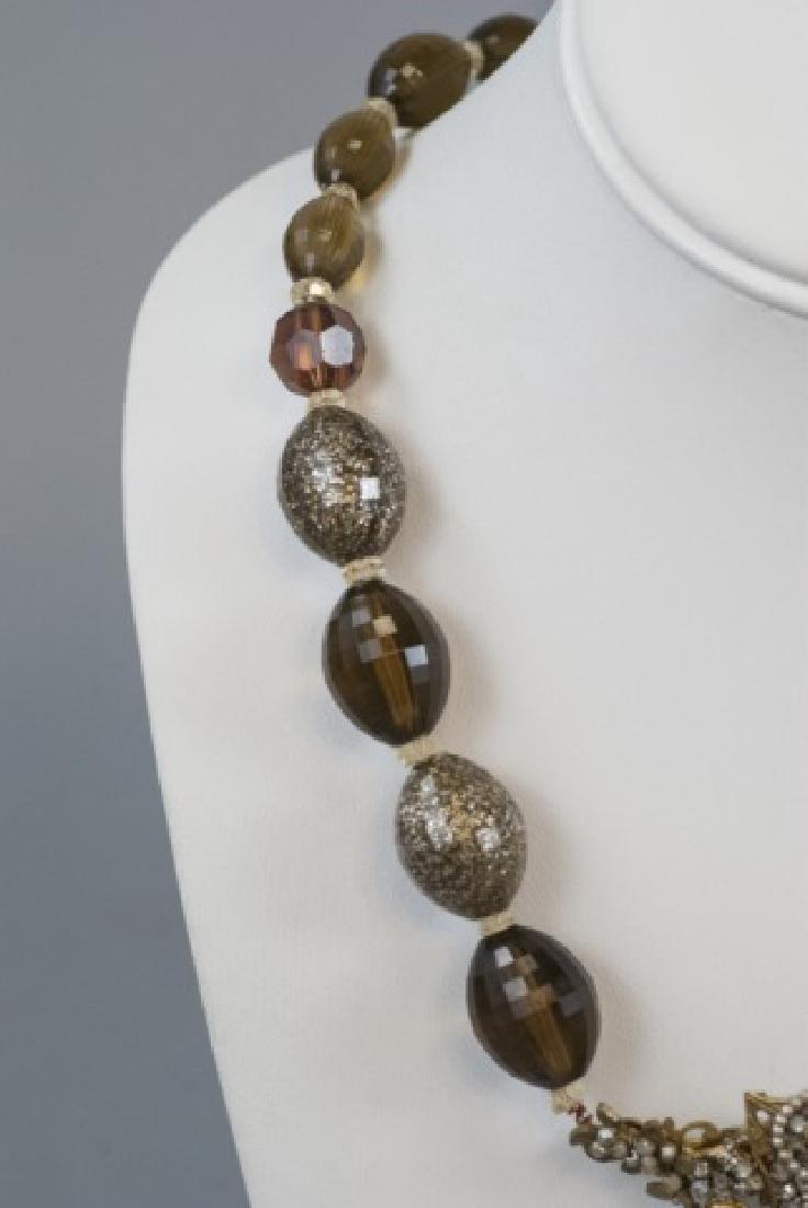 Vintage Miriam Haskell Pearl & Rhinestone Necklace - 3