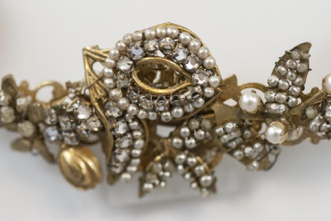 Vintage Miriam Haskell Pearl & Rhinestone Necklace - 5