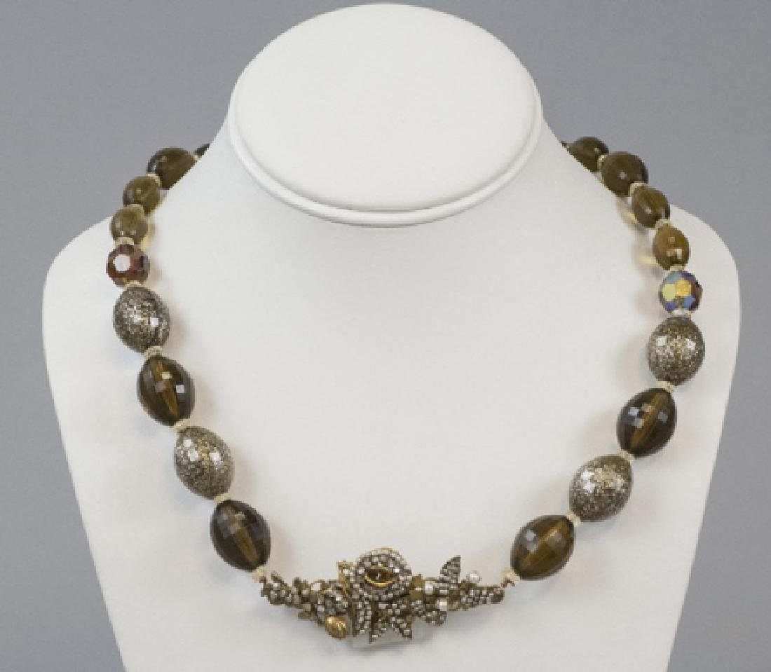 Vintage Miriam Haskell Pearl & Rhinestone Necklace - 7