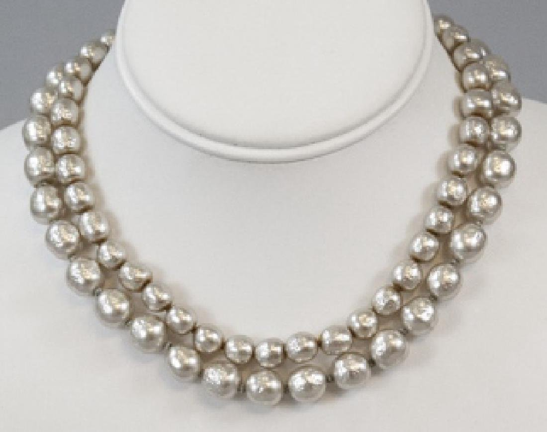 Vintage Miriam Haskell Two Strand Pearl Necklace