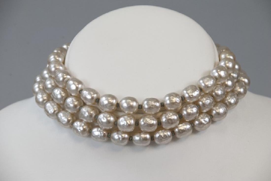 Vintage Miriam Haskell Three Strand Pearl Necklace