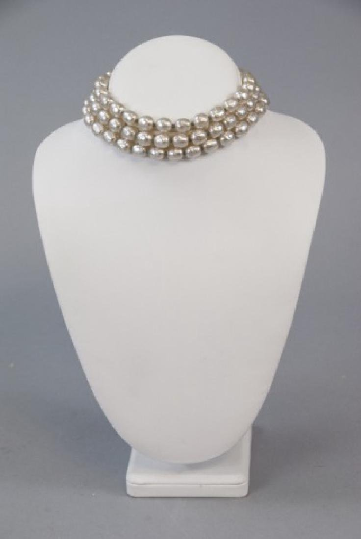 Vintage Miriam Haskell Three Strand Pearl Necklace - 4