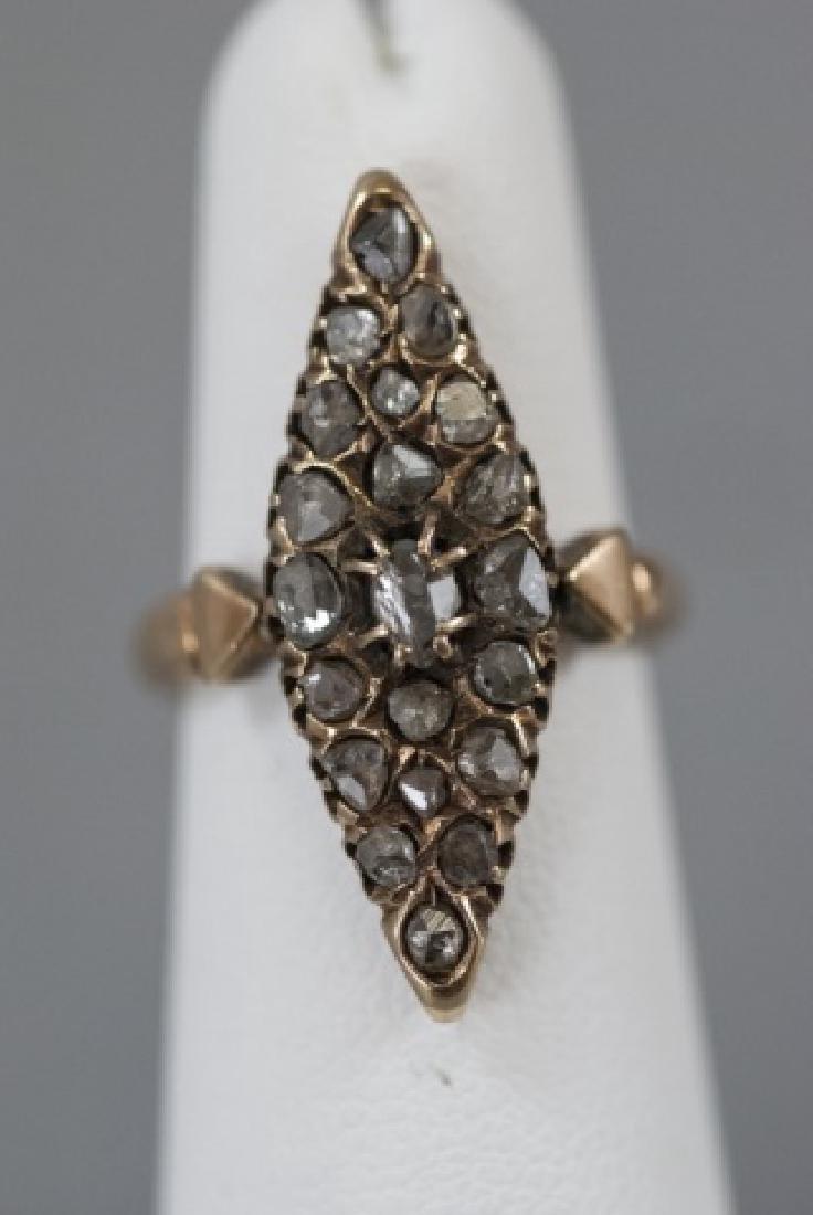 Antique 19th C 15kt Gold & Diamond Navette Ring