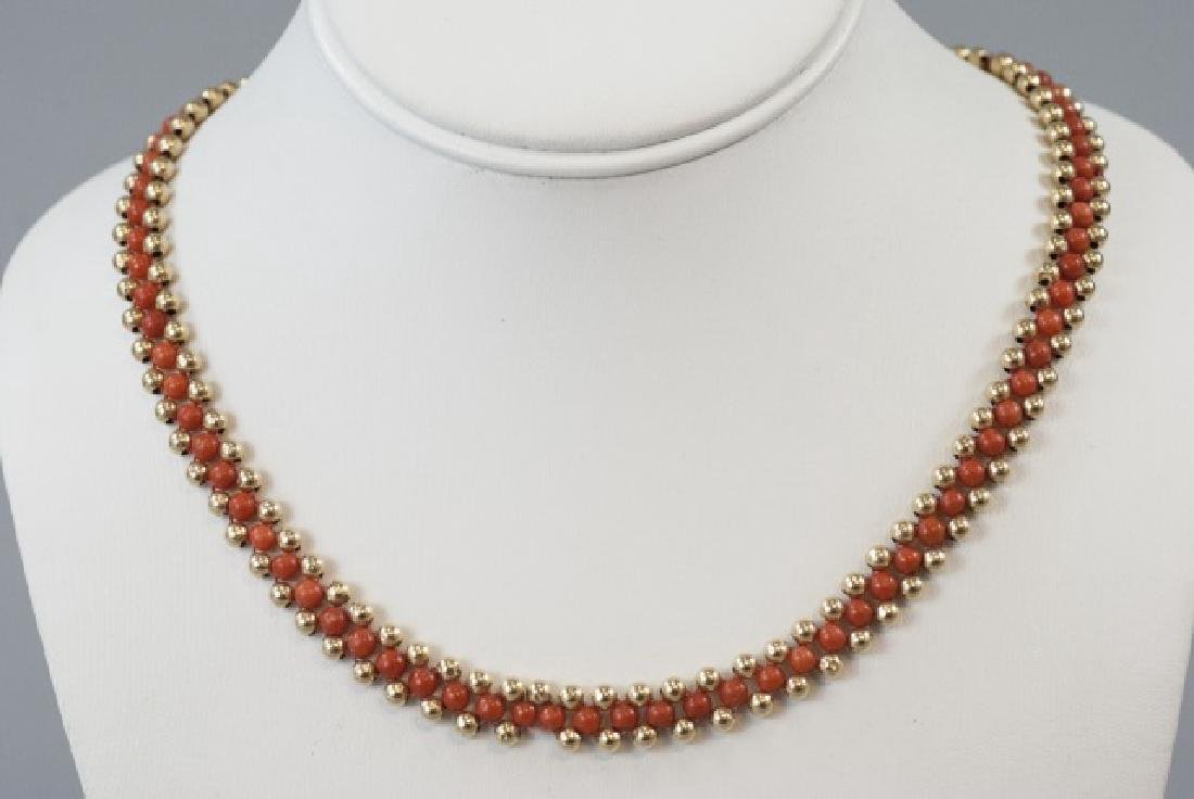 Vintage 14kt Yellow Gold & Coral Beaded Necklace