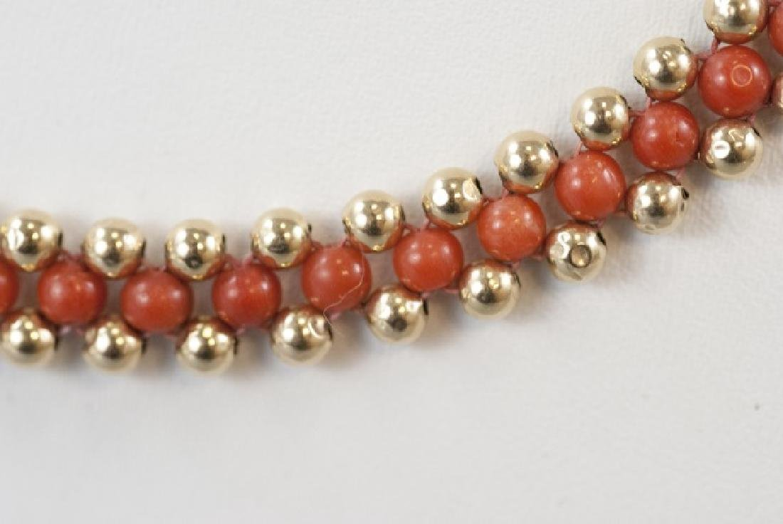 Vintage 14kt Yellow Gold & Coral Beaded Necklace - 2