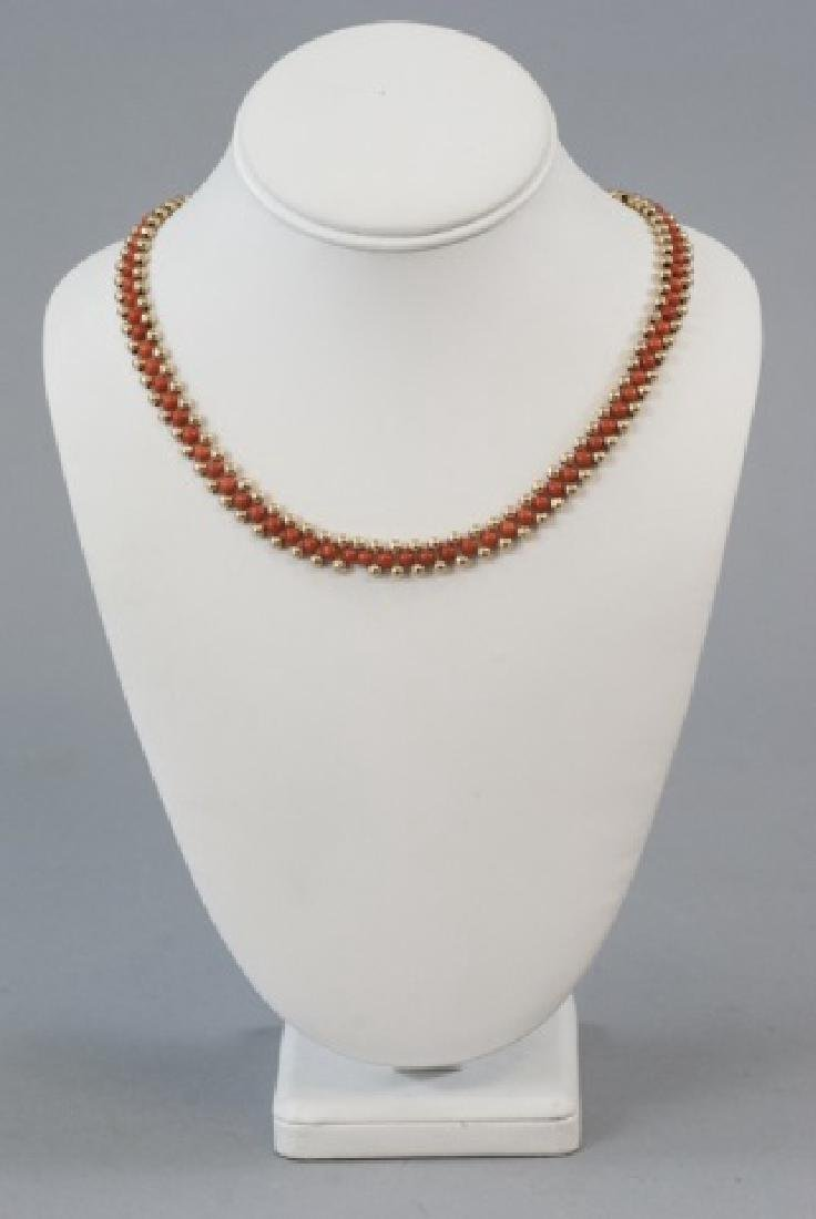 Vintage 14kt Yellow Gold & Coral Beaded Necklace - 3
