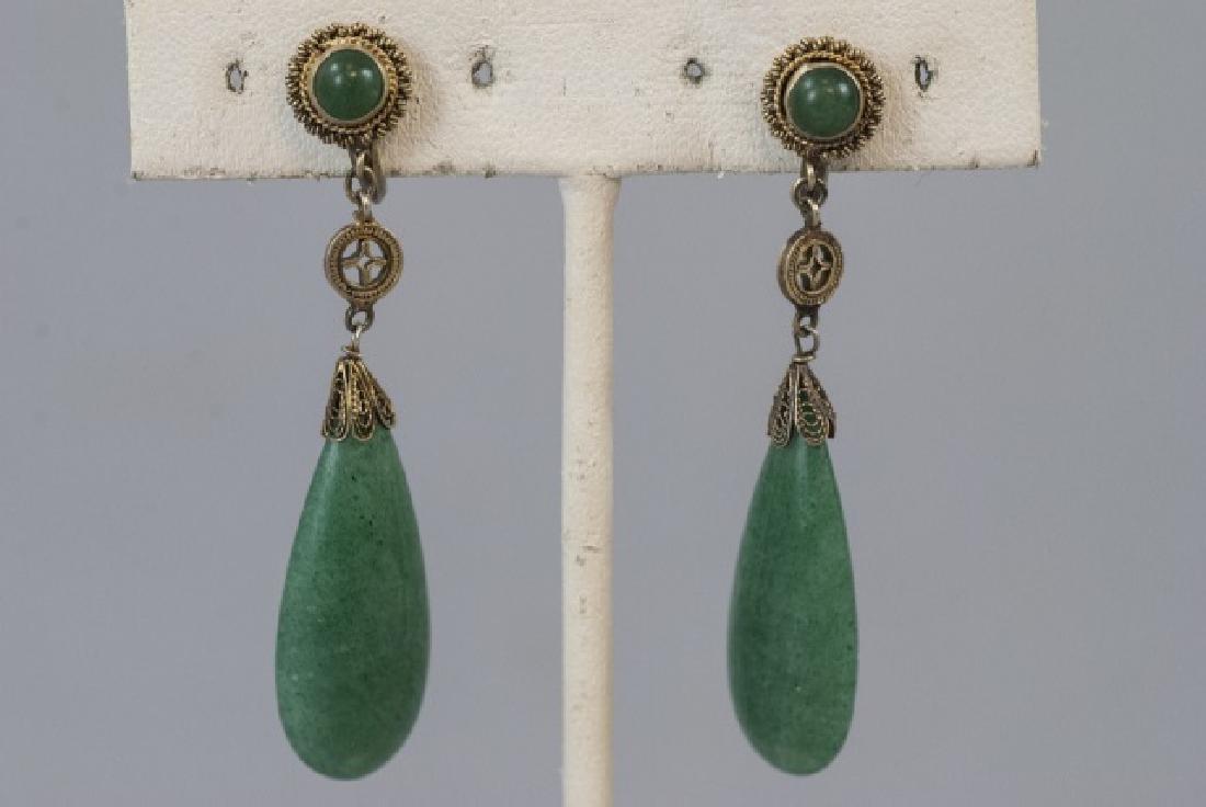 Chinese Gilt Silver Aventurine Jade Earring