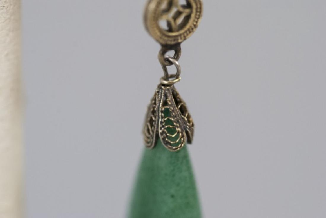 Chinese Gilt Silver Aventurine Jade Earring - 2