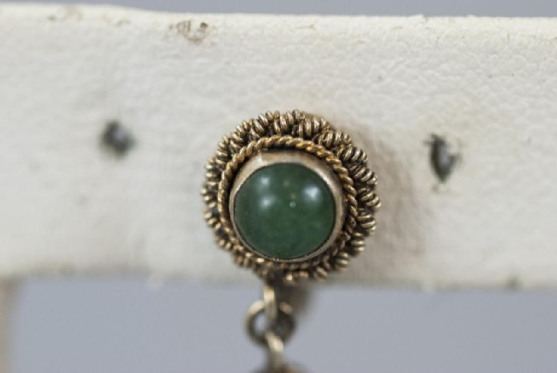 Chinese Gilt Silver Aventurine Jade Earring - 4