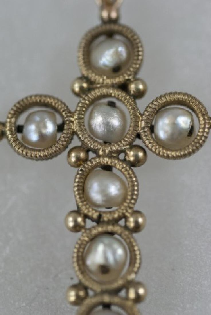 Antique 19th C 14kt Yellow Gold & Pearl Cross - 2