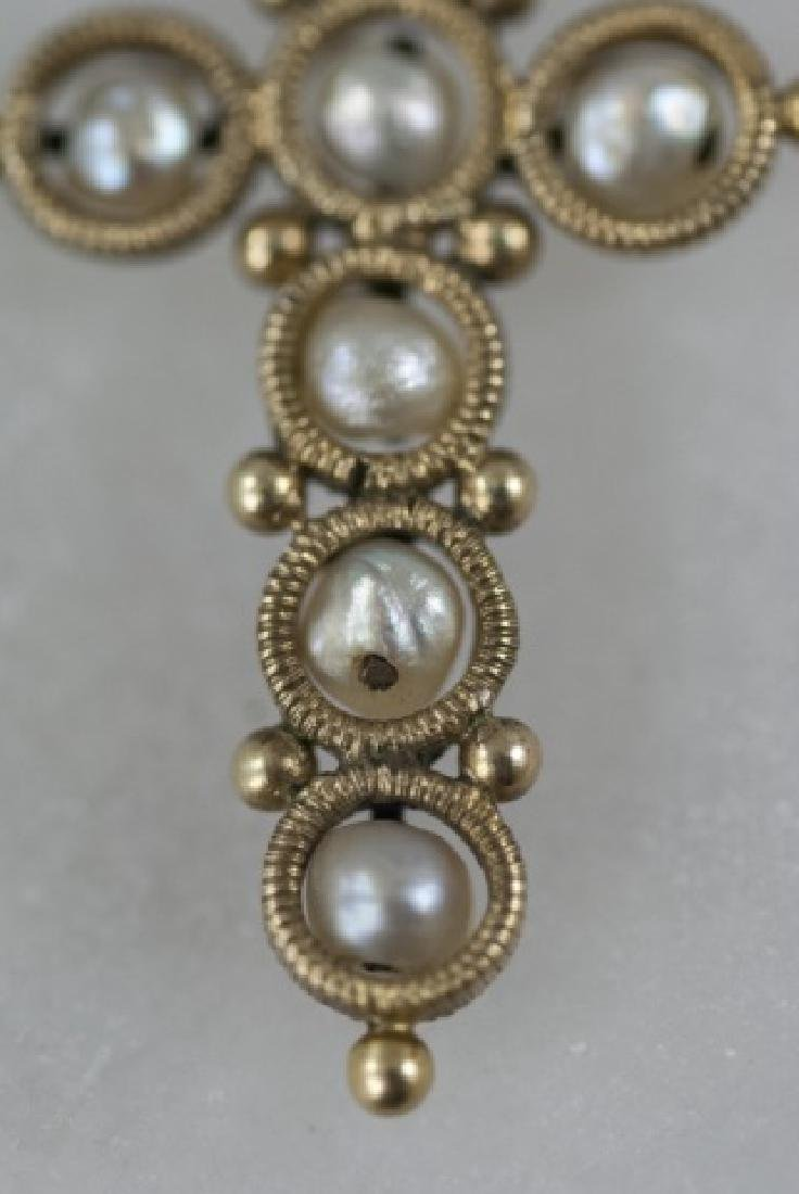 Antique 19th C 14kt Yellow Gold & Pearl Cross - 3