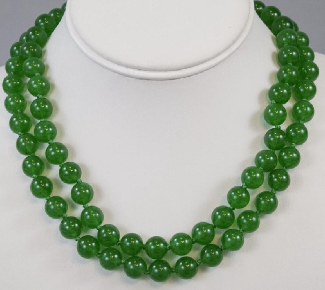 Pair Chinese Jade Round Bead Necklaces