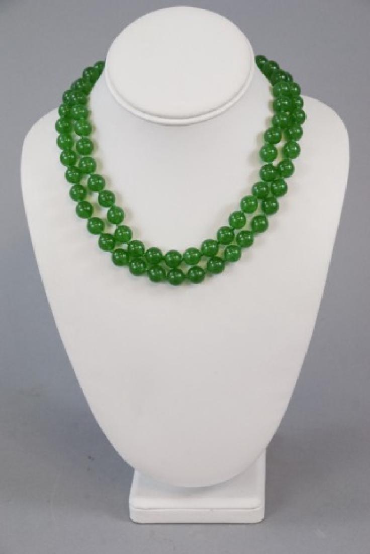Pair Chinese Jade Round Bead Necklaces - 2