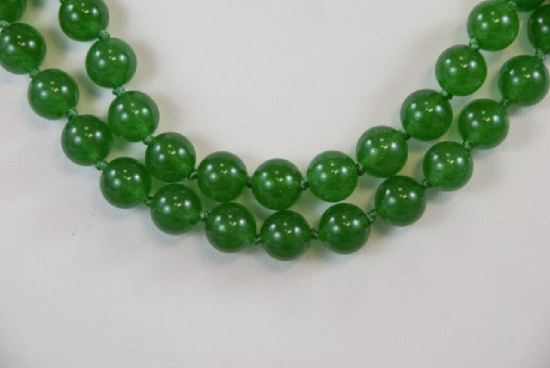 Pair Chinese Jade Round Bead Necklaces - 3