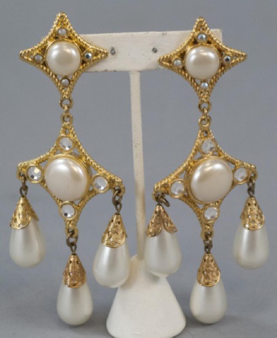 Vintage Gilt Metal & Faux Pearl Statement Earrings