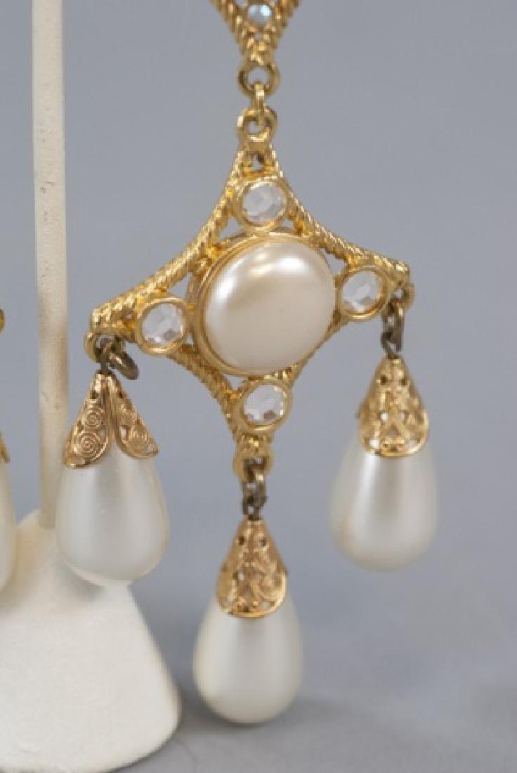 Vintage Gilt Metal & Faux Pearl Statement Earrings - 2