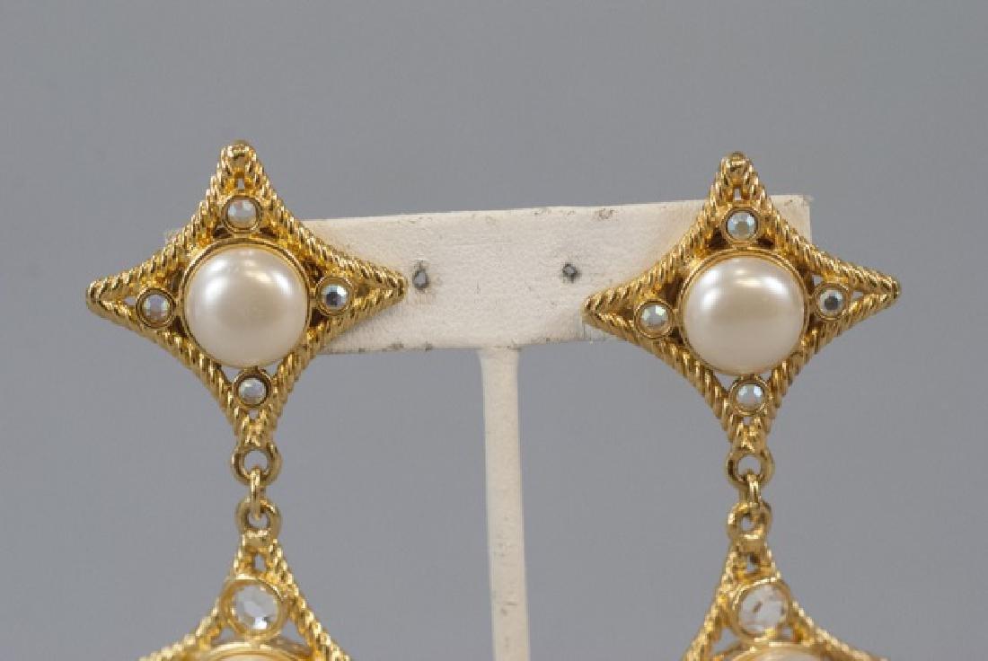 Vintage Gilt Metal & Faux Pearl Statement Earrings - 3