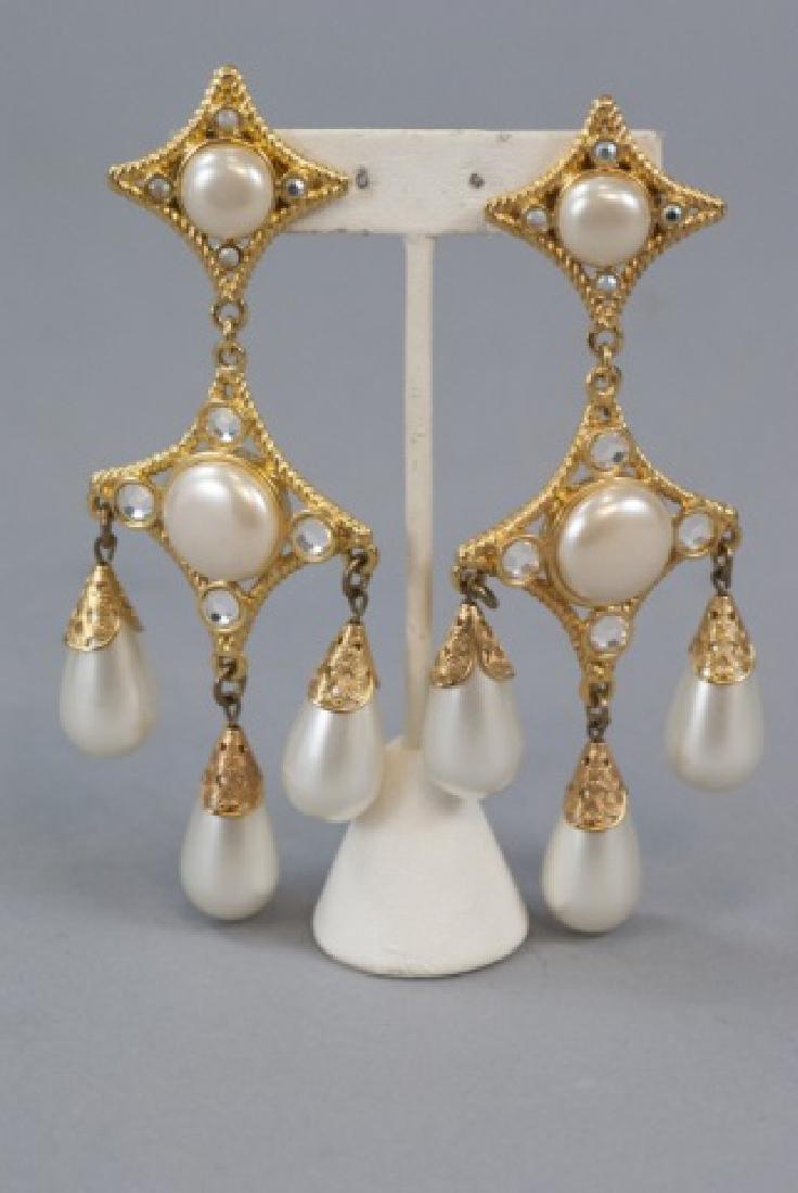 Vintage Gilt Metal & Faux Pearl Statement Earrings - 4