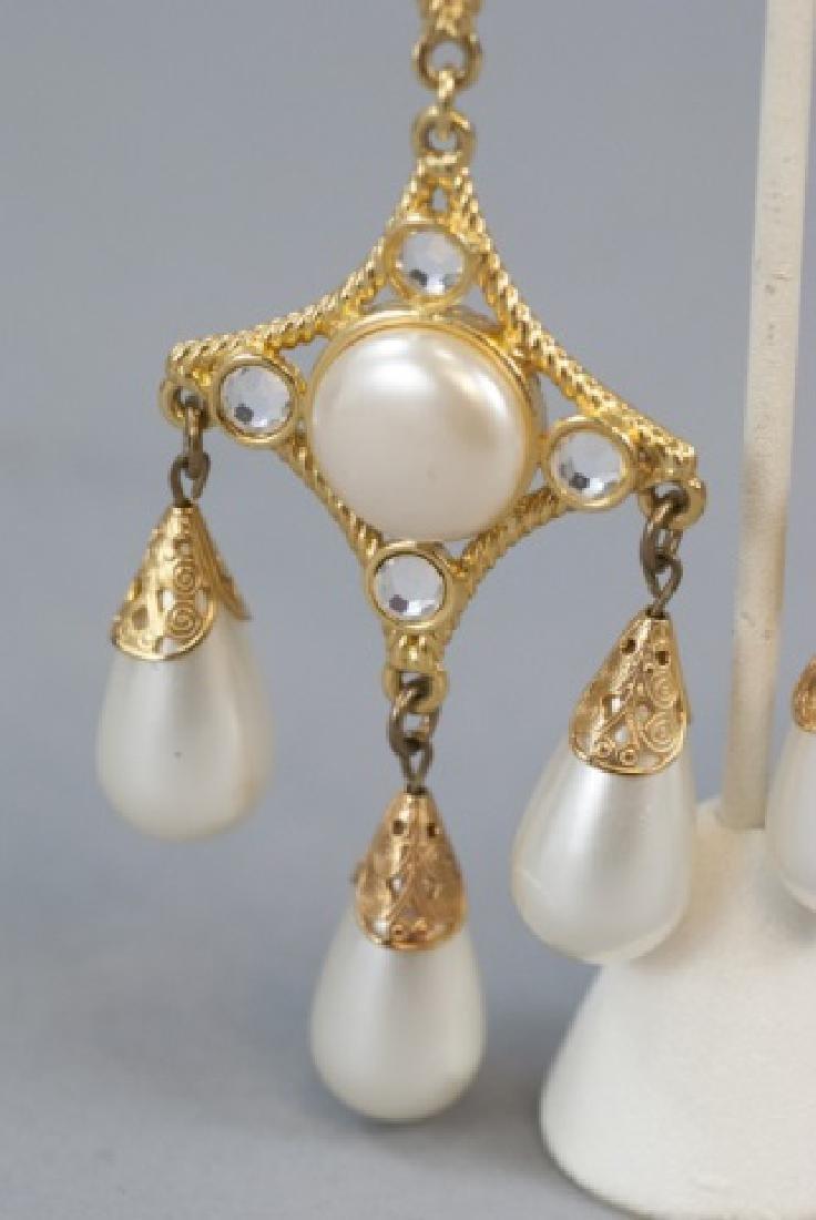 Vintage Gilt Metal & Faux Pearl Statement Earrings - 5