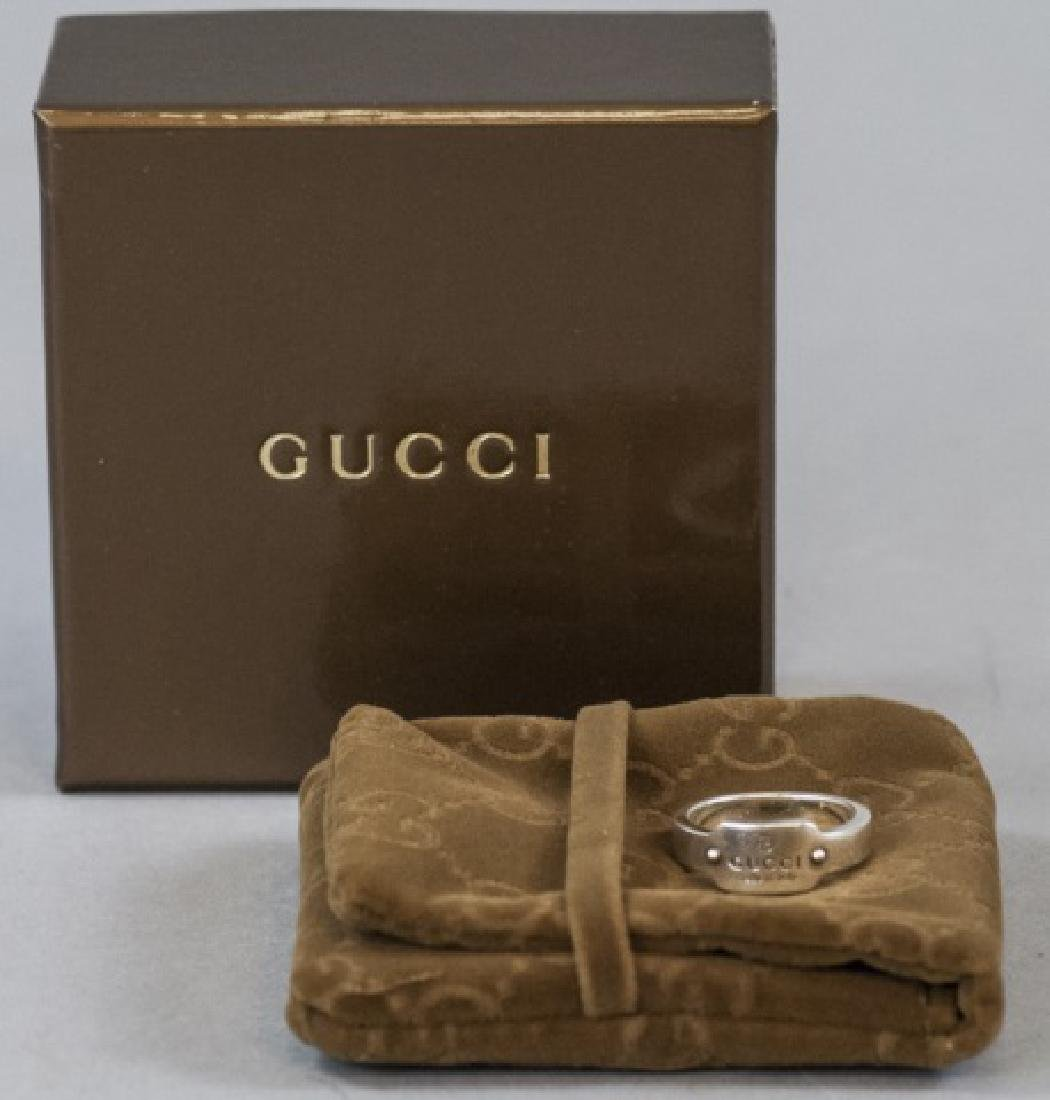 Gucci Sterling Silver Logo Ring w Box & Dust Pouch