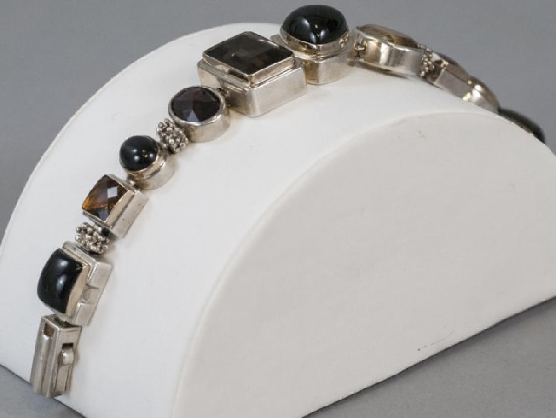 Sterling Silver Mutli Stone Modernist Bracelet