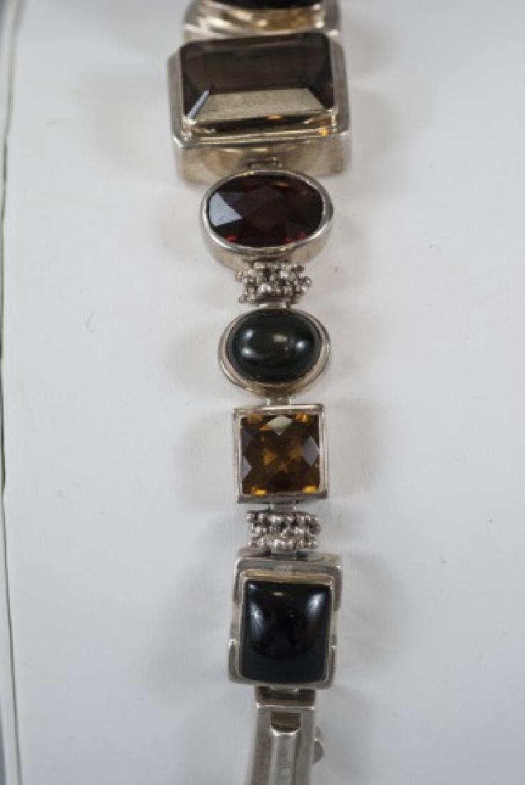Sterling Silver Mutli Stone Modernist Bracelet - 2
