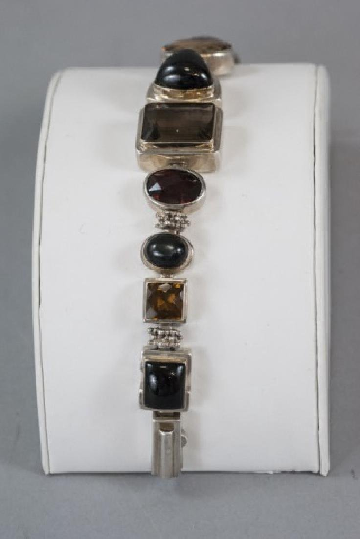 Sterling Silver Mutli Stone Modernist Bracelet - 4