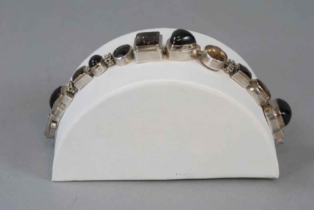 Sterling Silver Mutli Stone Modernist Bracelet - 5