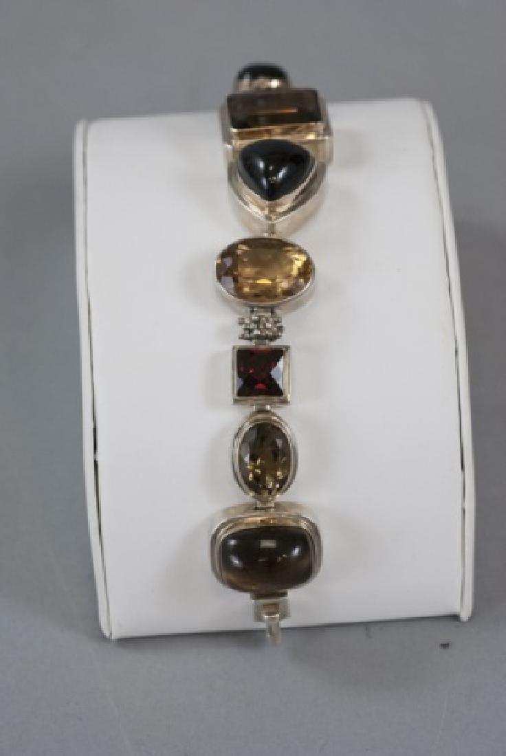 Sterling Silver Mutli Stone Modernist Bracelet - 6