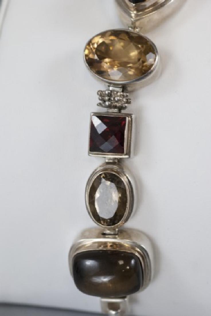 Sterling Silver Mutli Stone Modernist Bracelet - 7