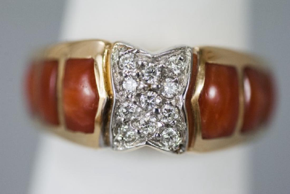 Estate 14kt Yellow Gold Coral & Diamond Ring
