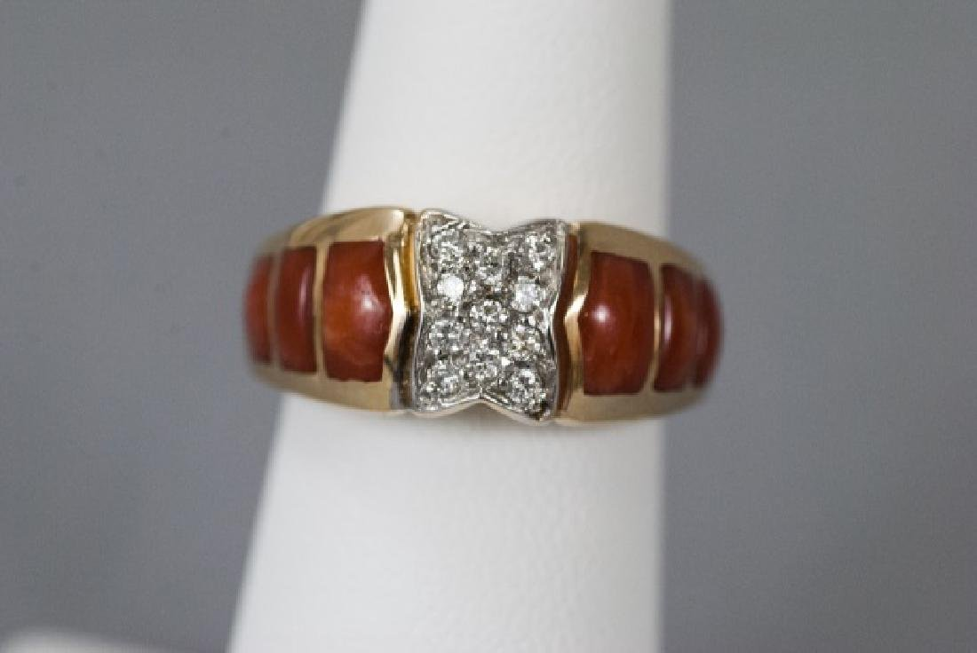 Estate 14kt Yellow Gold Coral & Diamond Ring - 2