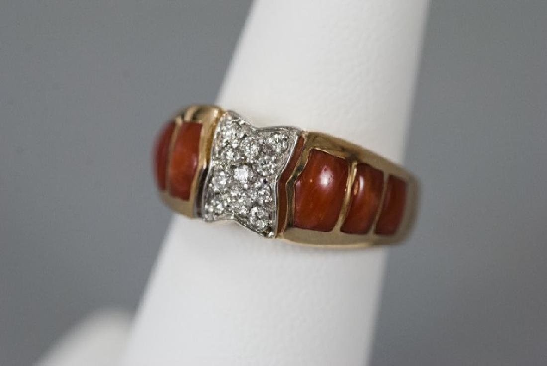 Estate 14kt Yellow Gold Coral & Diamond Ring - 3