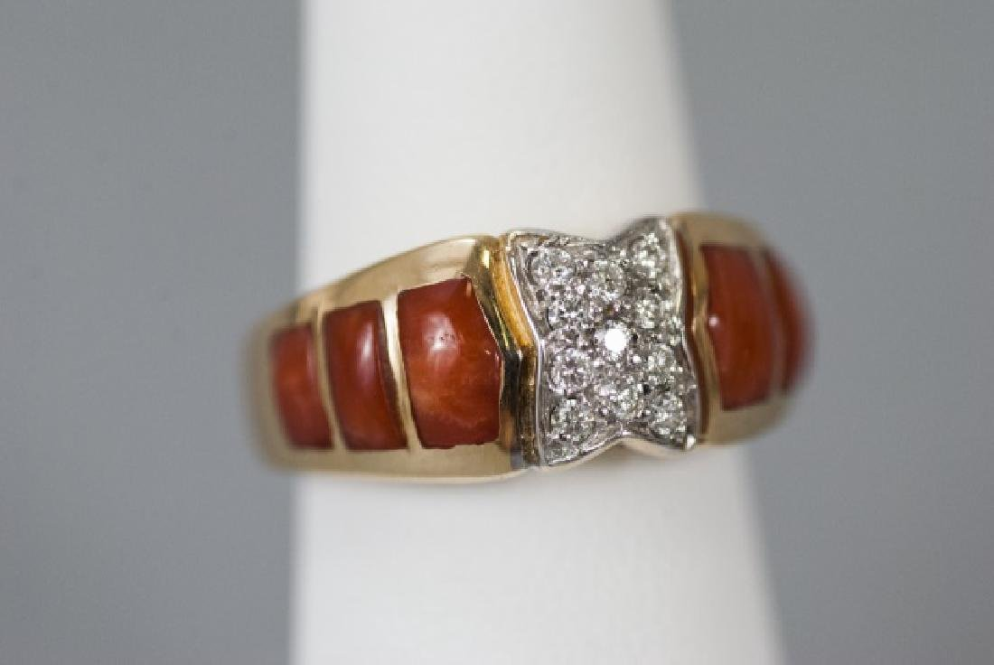 Estate 14kt Yellow Gold Coral & Diamond Ring - 4